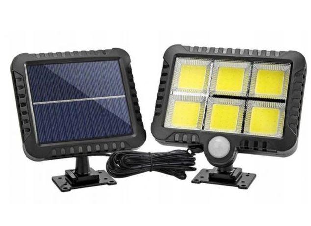 Lampa SOLARNA 120 LED COB, PANEL SŁONECZNY z Czujnikiem Ruchu kabel 5m