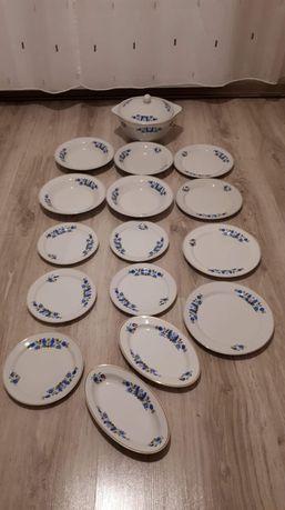 Porcelana kaszubska Lubiana talerze półmiski waza zestaw kaszubski