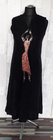 Sukienka hand made lniana Anna Morella czarna ręcznie malowana M/L