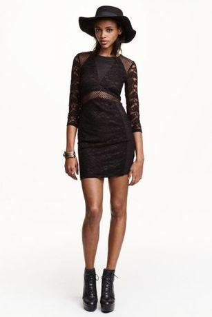 H&M sukienka czarna z koronką Nowa rozm. XS