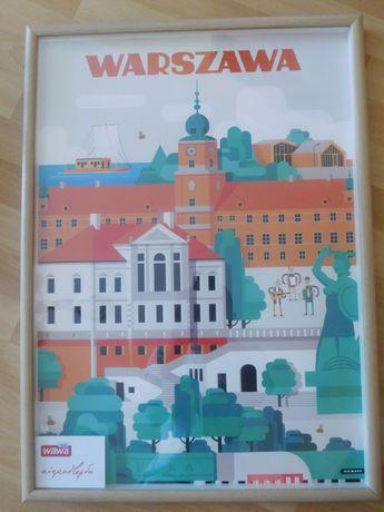 Duży plakat Warszawa w ramie.