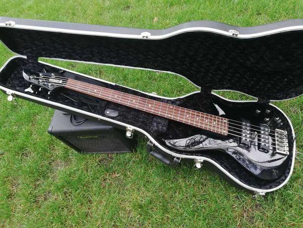 Gitara basowa Yamaha RBX375, piec Kustom, twardy futerał/case