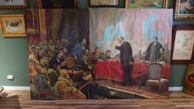 Płótno socrealizm Przemówienie Lenina olej