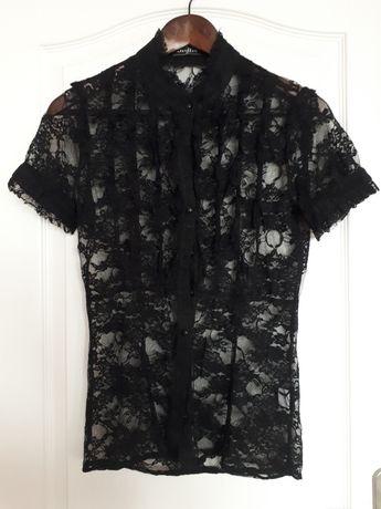 Koronkowa czarna koszula/krótki rękaw/XS-34