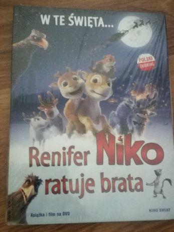 Renifer Niko ratuje brata - książka i film na DVD, NOWA
