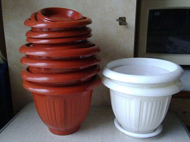 Горшок-вазон для цветов и растений (пластик) коричневые, белые (13 шт)