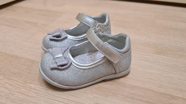 Туфельки серебристые , 21 р. Clibee