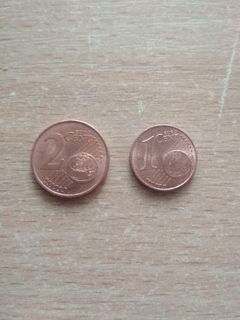 Монеты Евро центы 1, 2, 5.