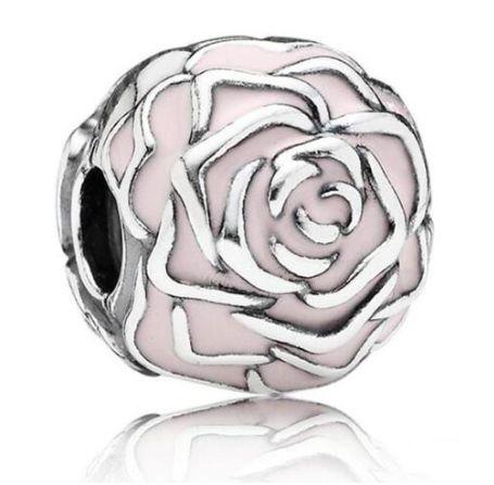 Charms PANDORA Srebro 925 kwiat róża emalia różowy