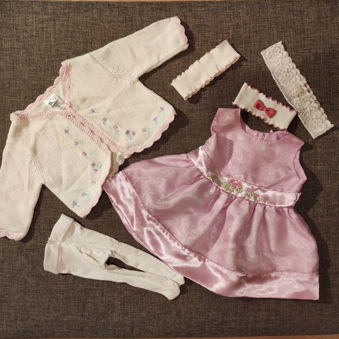 Komplet ubranko do chrztu sukienka sweterek rozm. 62 Kielce - image 1