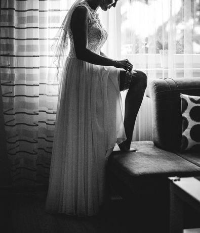 Piękna, delikatna suknia ślubna rozm. 36