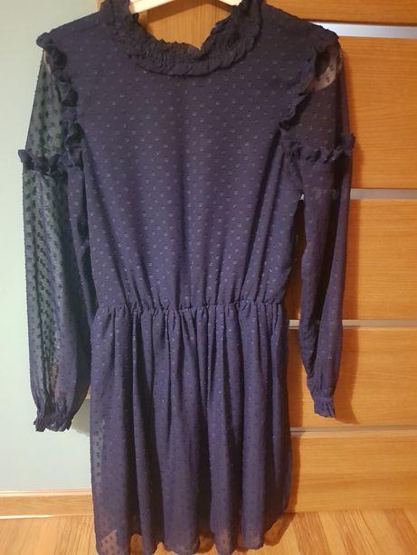 Reserved sukienka boho niebieska falbany roz.164