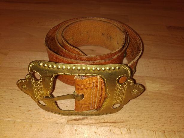 Вінтажний шкіряний пояс з латунною пряжкою Ремень кожаный винтаж