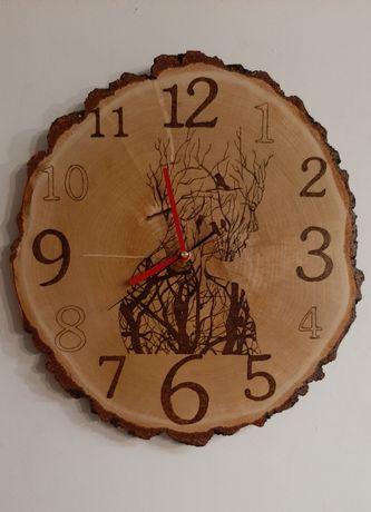 Zegar drewniany wypalany