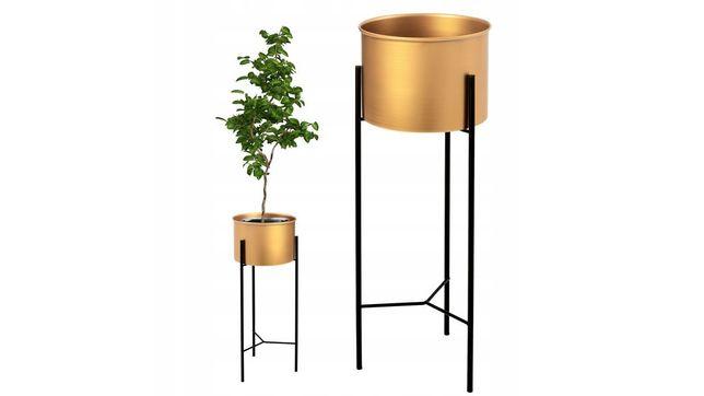 NOWY kwietnik metalowy złoty 40cm