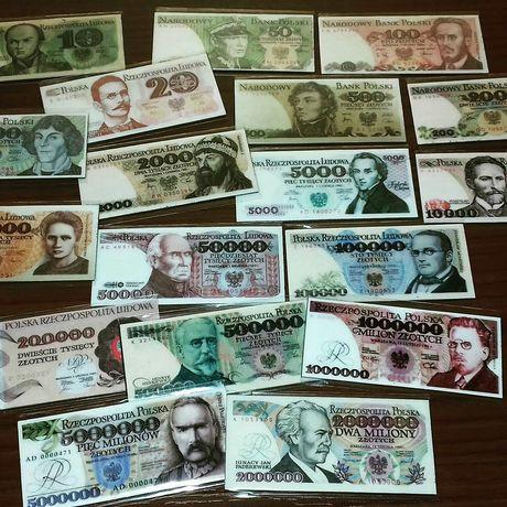 Banknoty PRL zestaw magnesów 4x7cm 50zl zestaw 18szt