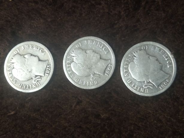 One dime barber head 1906 ,1907,1915 srebro zestaw cena za wszystkie