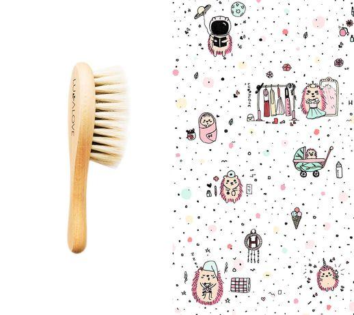 Lullalove Szczotka Z Koziego Włosia + Myjka Jeż Różowy