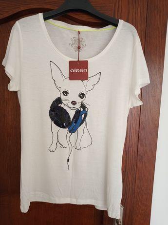 Nowy biały t-shirt Olsen rozmiar 40.