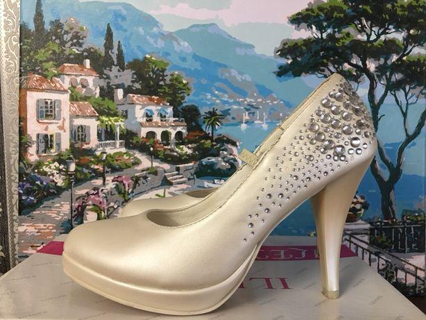 Свадебные праздничные туфли 36 размер Айвори слоновая кость