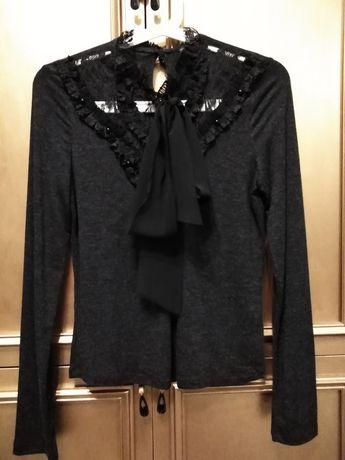 Zara bluzka bawełniana koronką i kokardą NOWA S