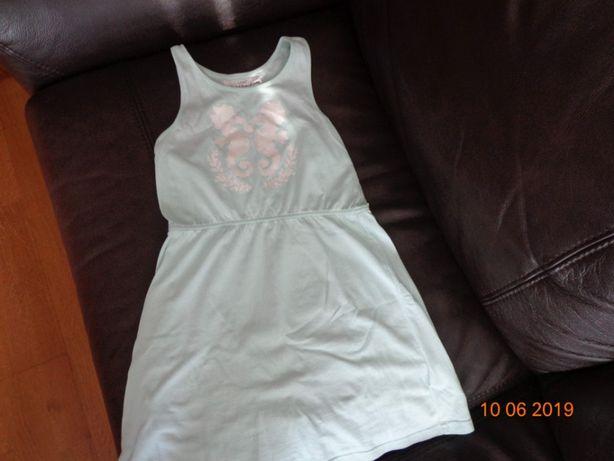 Miętowa sukienka na ramiączkach H&M koniki morskie rozmiar 122/128