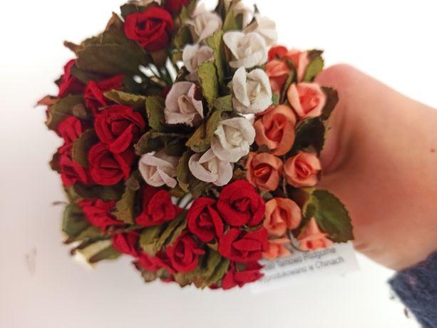 Papierowe kwiatuszki, róże zestaw 72szt