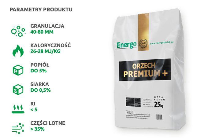 Węgiel kamienny Energo ORZECH PREMIUM + 26-28 MJ/kg workowany paleta