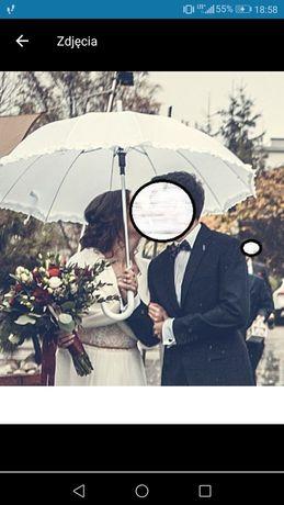 Parasol biały ślub