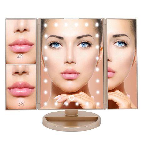 Дзеркало для макіяжу з LED підсвічуванням прямокутне потрійне usb.