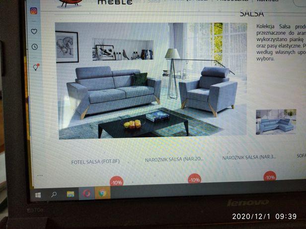 Komplet sofa 3 + fotel Wajnert spanie