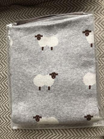 NOWY Kocyk dzieciecy owieczk szary bawełniany (owce mięciutki bawelna)