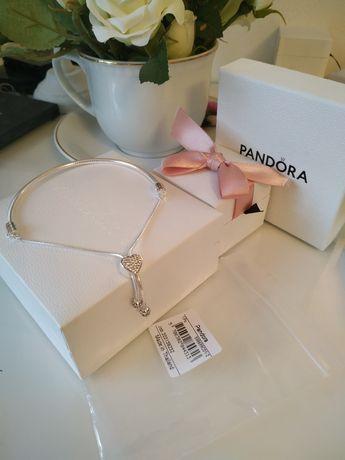 Bransoletka Pandora Moments ściągana  serce pave NOWA z dowodem zakupu