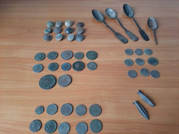 Старинные монеты пуговицы ложки Раскопки 1950х годов Клад