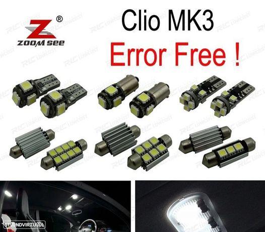 KIT COMPLETO DE 15 LÂMPADAS LED INTERIOR PARA RENAULT CLIO III MK3. GRANDTOUR 2006-2012