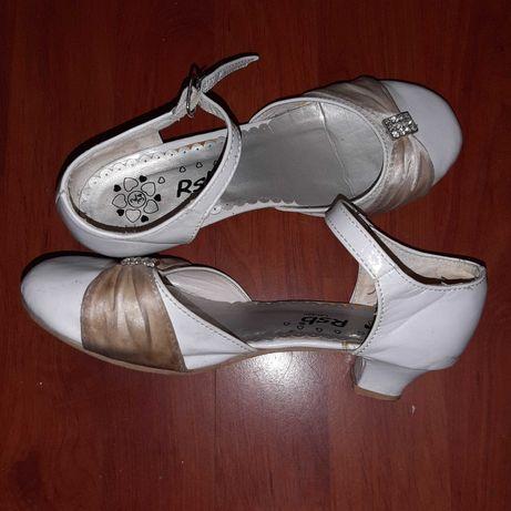 Komunia, wesele, ślub, buty 34 białe na obcasie. Pantofelki!8-9lat