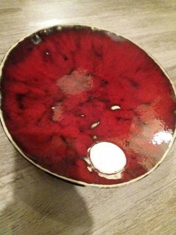 Patera ceramika hand made polska, czerwień z emblematem śnieżynki