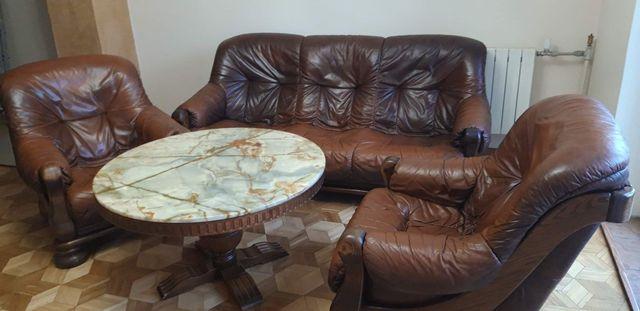 Komplet skórzany kanapa + fotele