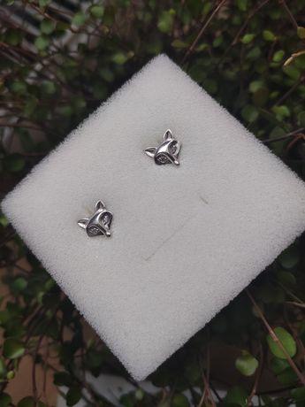 Kolczyki srebrne lis liski lisy