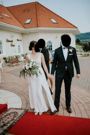 Suknia ślubna, koronka, rozm. 36/38, śmietankowa
