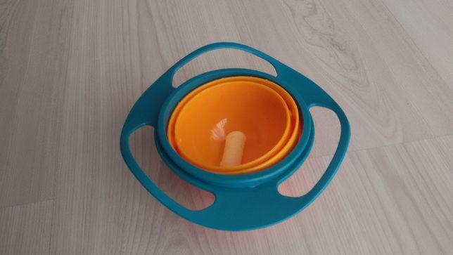 Antygrawitacyjna, obracająca się miska dla dziecka, 360 stopni.