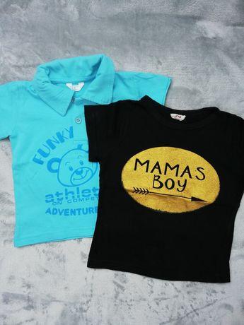 Koszulki dla chłopca rozmiar 74 cena za 2 szt