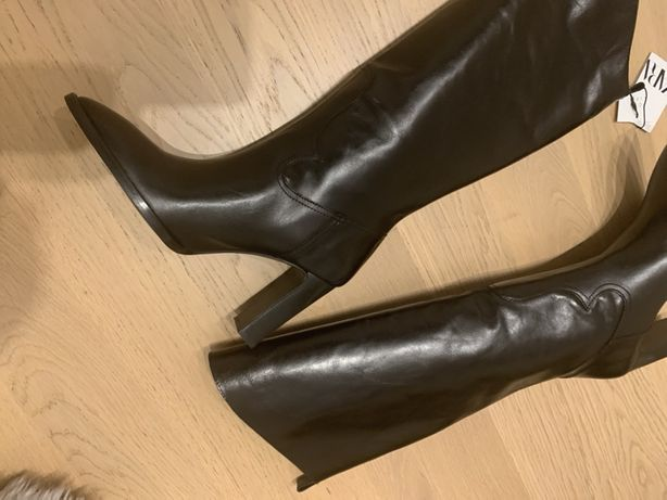 Zara kozaki skorzane czarne bowe r 39/40