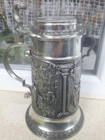 Пивной бокал с крышкой из олова Германия