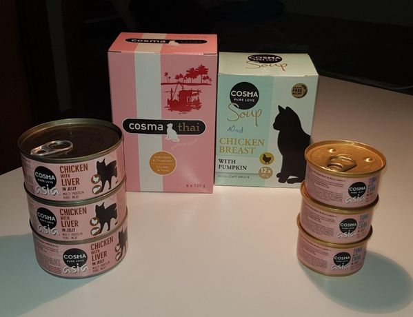 COSMA THAI, rozne smaki, saszeki, puszki karma dla kotów Premium