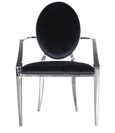 Nowoczesne krzesło chromowane z podłokietnikami FT 83AMR GLAMOUR