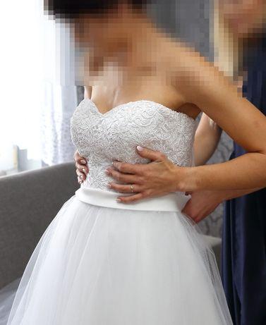 Suknia ślubna biała 2017 Ramona r 36 S koronkowy gorset tiul