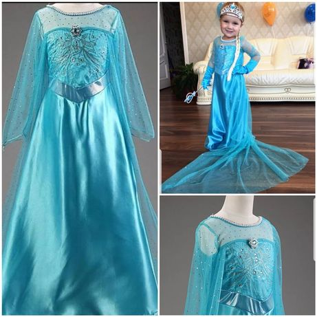 Акция Распродажа!Шикарное платье принцессы Эльзы шлейф 4 5 6 7 8 9 лет