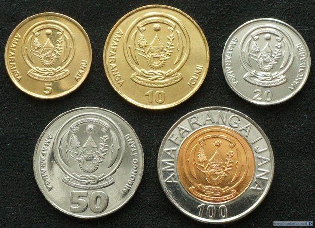 Набор монет 5, 10, 20, 50, 100 франков 2007-2011 Руанда