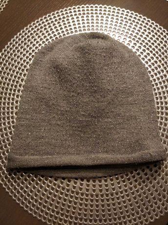 Siwa srebrna czapka na polarze ciepła